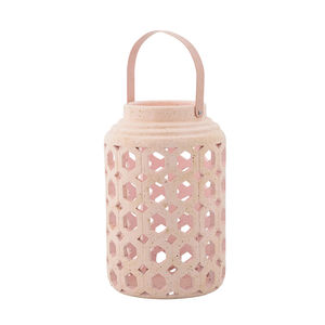 Bloomingville Ceramic Lantern In Blush Pink - home accessories