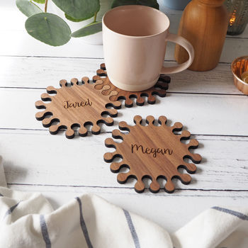 Hexagon Interlocking Personalised Jigsaw Coasters