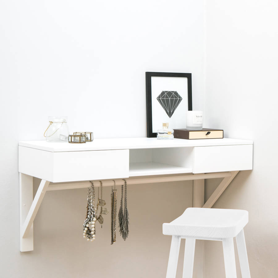 huge selection of 3bb87 d50ca Floating Dressing Table With Drawers And Jewellery Rail