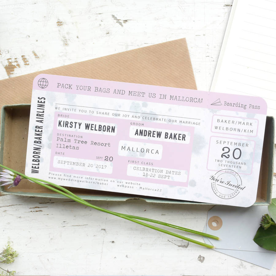 boarding pass wedding invitation vintage style - Vintage Style Wedding Invitations