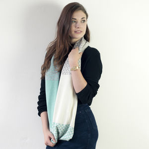 Triangle Knitted Circle Scarf In Mint