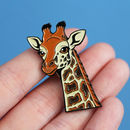 Rothschild's Giraffe Illustration Soft Enamel Pin Badge