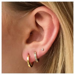 14k Gold Vermeil Diamond Hugging Hoops - earrings