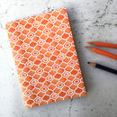 Orange Notebook, A6 Geometric, Vibrant Design