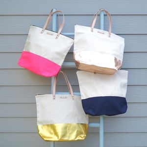 Canvas Tote Bag With Leather Straps