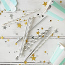 Silver Party Paper Straws
