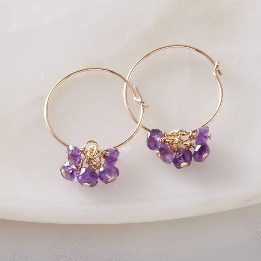 amethyst gold hoop earrings by samphire jewellery. Black Bedroom Furniture Sets. Home Design Ideas