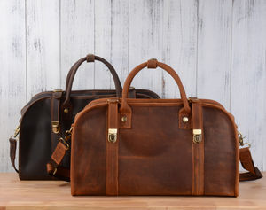 Personalised Vintage Look Leather Holdall Bag - shop by occasion