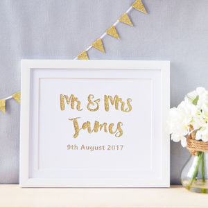 Personalised Mr And Mrs Glittered Paper Cut Art