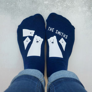 Personalised Bear Family Socks - summer sale