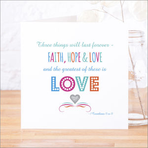 'Faith Hope And Love' Contemporary Bible Verse Card