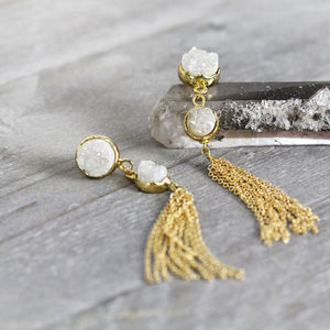 White Druzy And Gold Chain Tassel Earrings