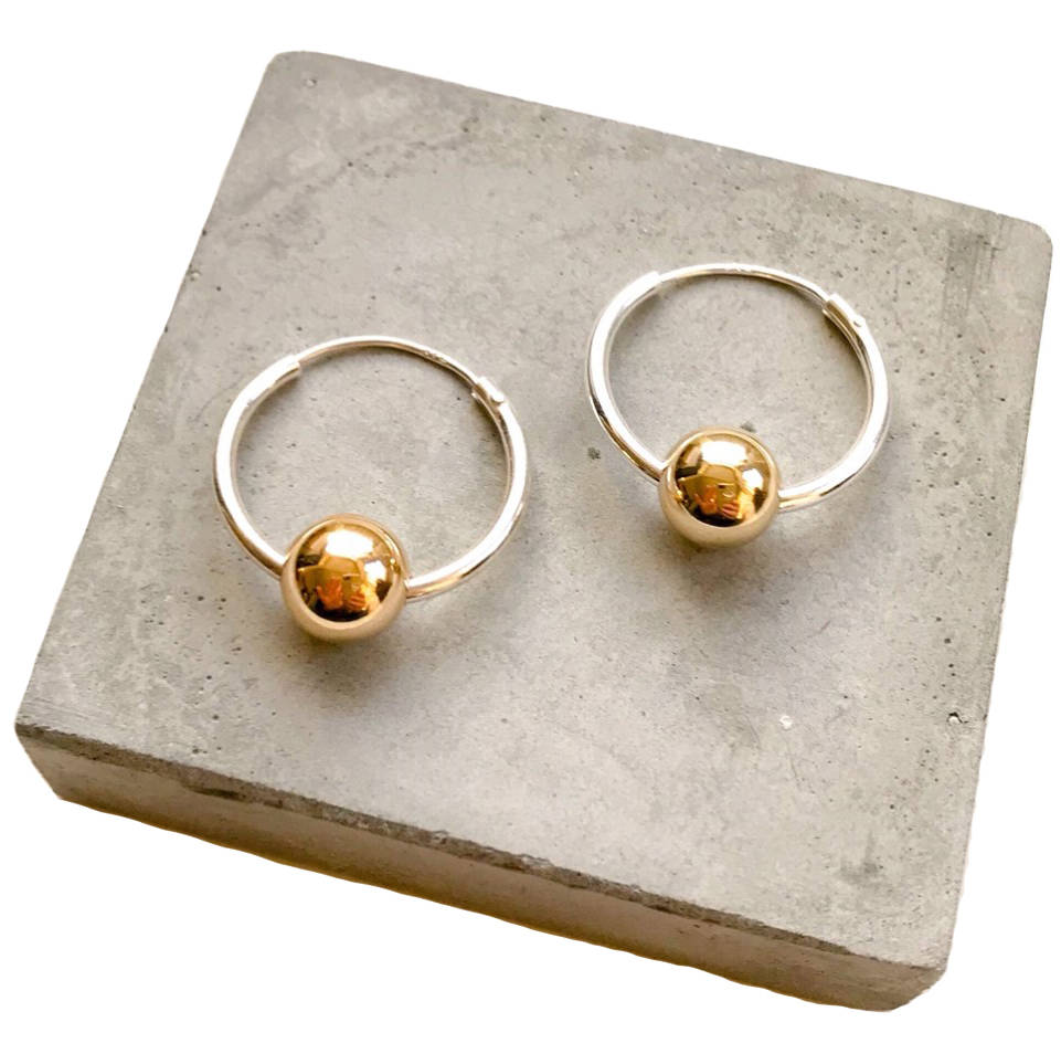 Large Silver Hoops With Single 9ct Gold Bead
