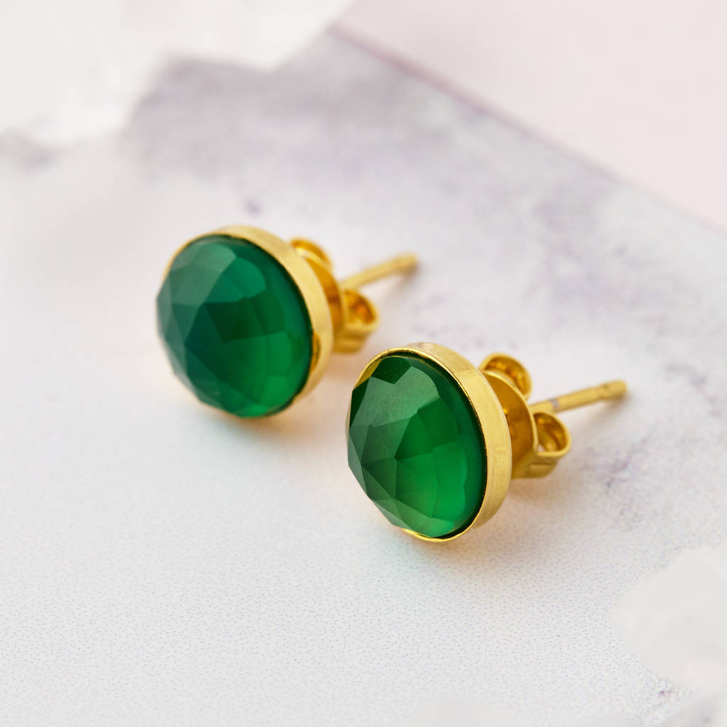 ellie scott product gold stud normal earrings stone lyst green kendra in oval jewelry