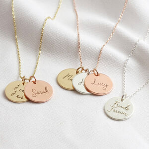 Personalised Mixed Metal Disc Charm Necklace