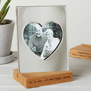Silver Heart Frame With Personalised Wooden Stand