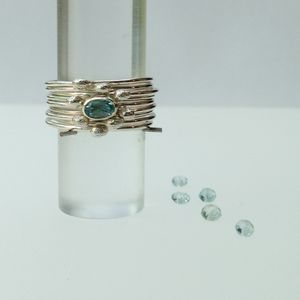 Silver Stacking Rings With Blue Topaz