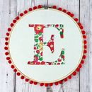 Embroidered, Liberty Fabric Monogram Embroidery Hoop