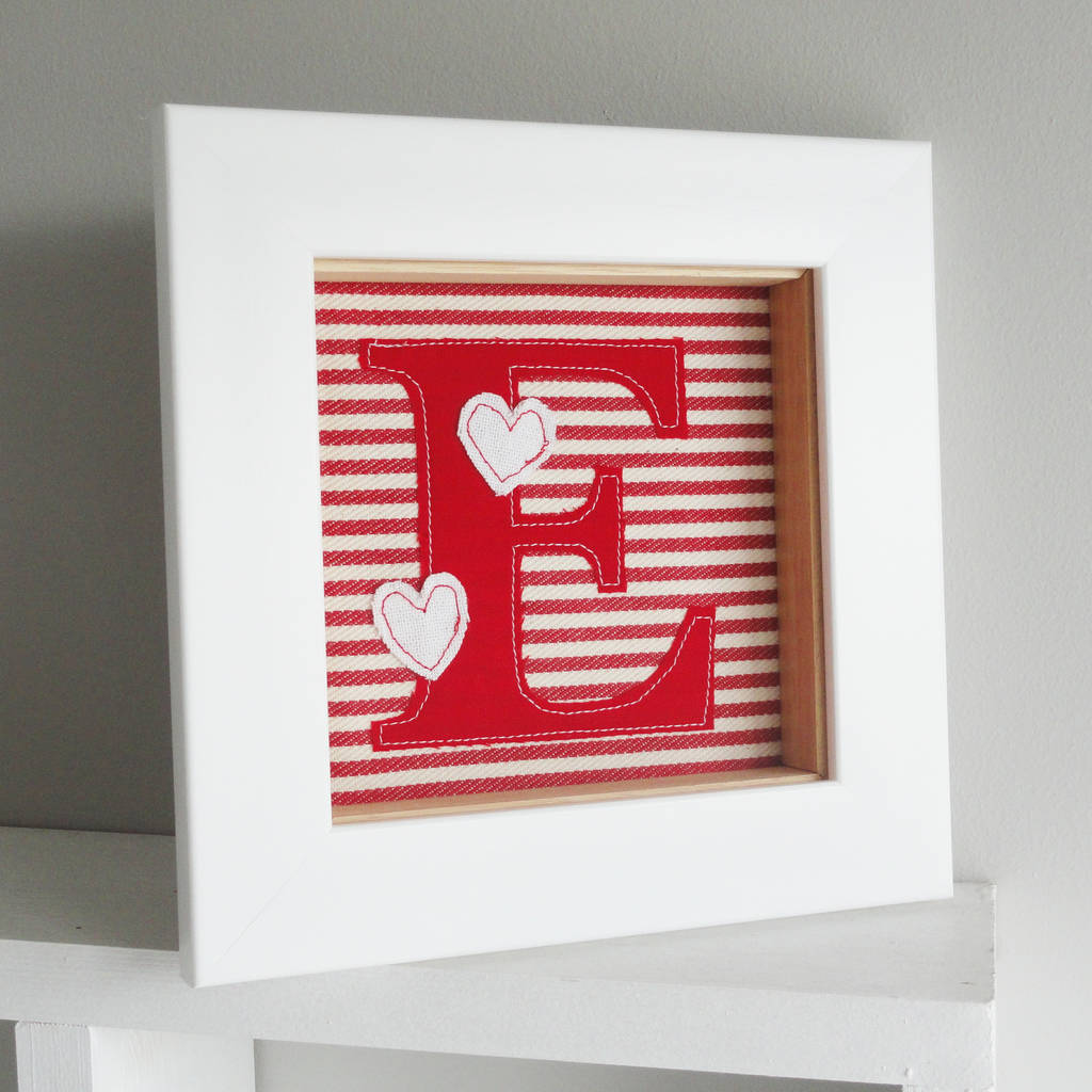 framed embroidered initial artwork by little foundry ...