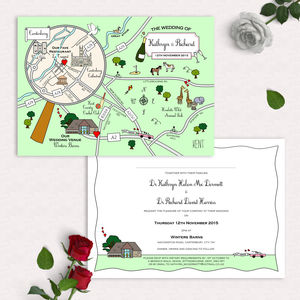 Illustrated Map Party Or Wedding Invitation - invitations