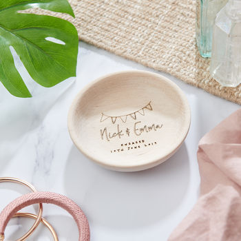 wooden Engagement trinket dish