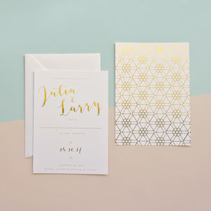 Hexagon Gold Foil Wedding Stationery - invitations