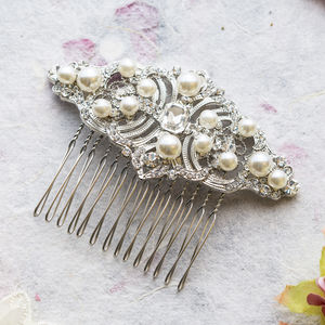 Luella Crystal And Pearl Hair Comb - head pieces