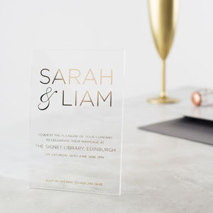 Personalised Acrylic Foiled Modern Invitations - invitations
