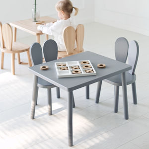 Wood Table And Two Kids Chairs Set - furniture