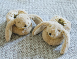 Bunny Baby Slippers Cream Or Brown - clothing