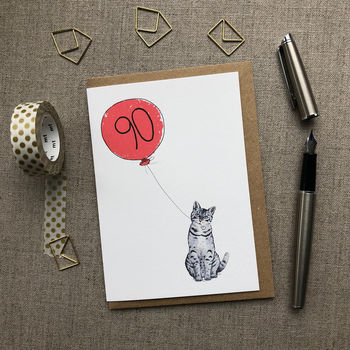 Personalised 90th Birthday Card Cat Design