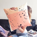Orange And Peach Speckle Print Cushion