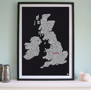 Personalised British Isles Golf Course Print - maps & locations