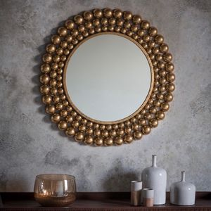 Antique Gold Leafed Balled Mirror