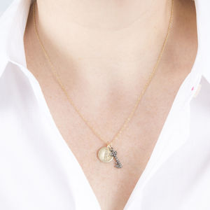 Gold And Pave Diamond Initial Necklace - celestial wedding