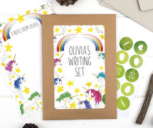 Personalised Unicorn Illustrated Children's Writing Set - summer sale
