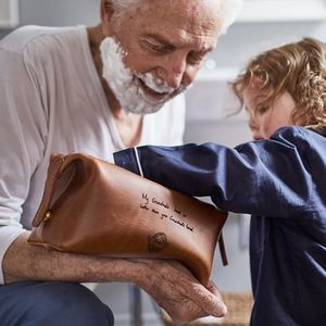 Personalised Leather Wash Bag With Child's Masterpiece - gifts for grandparents