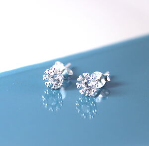 Frozen Snowflake Earrings In Sterling Silver