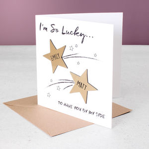 Personalised Metallic Shooting Star Valentine's Card