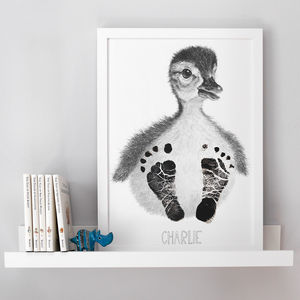 Personalised Baby Duck Footprint Kit - children's pictures & prints