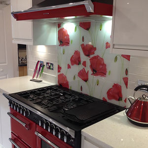 Poppy Patterned Glass Splashback - bathroom