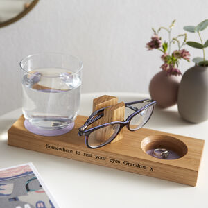 Personalised Glasses Stand With Dish And Coaster