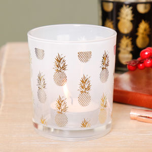 Small White And Gold Pinapple Glass Candle Holder - votives & tea light holders