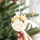Personalised First Christmas Star Bauble Decoration