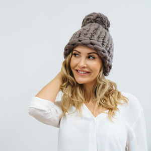 Pompom Beanie Hat Knitting Kit
