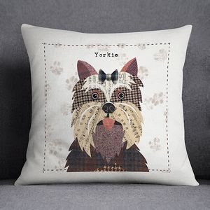 Yorkshire Terrier Personalised Dog Cushion Cover - living room
