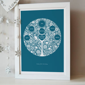 Personalised Grandchildren Family Tree Print - gifts for grandmothers