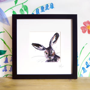 Inky Hare Illustration Print