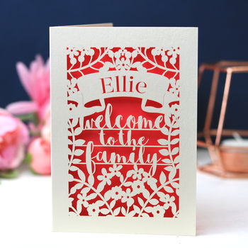 Personalised Papercut Adoption Card