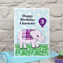 'Elephant' Personalised Childrens Birthday Card